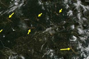 NASA MODIS卫星拍摄南卡罗莱纳州中部洪水