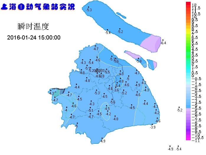 1月24日下午上海的气温分布实况
