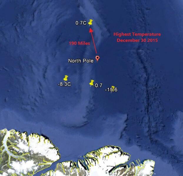 12月30日北极点邻近浮标站最高气温