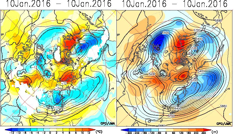 1月10日北半球T850和Z500形势