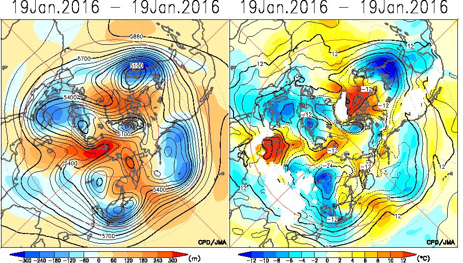 1月16与19日北半球T850和Z500形势