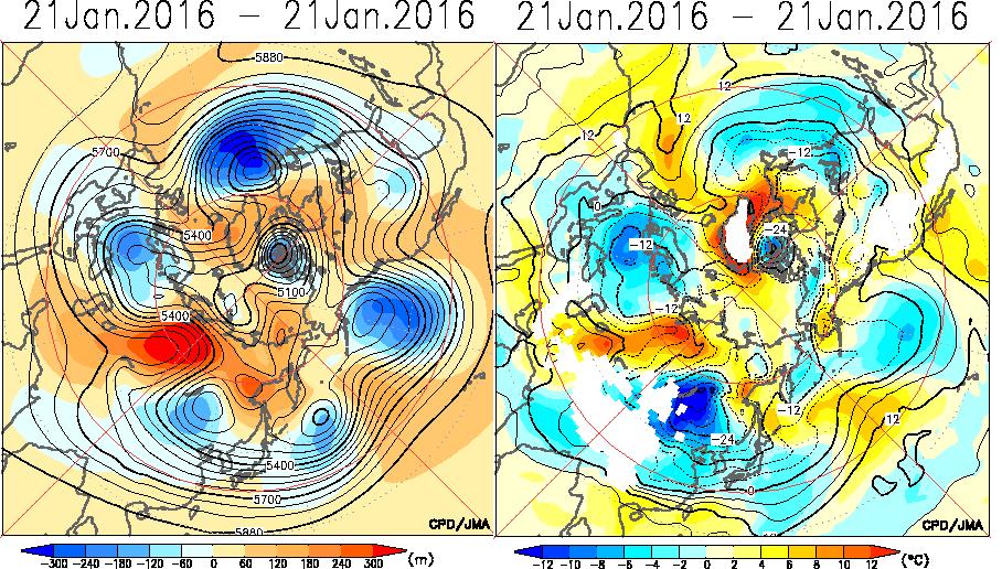 1月20与21日北半球T850和Z500形势